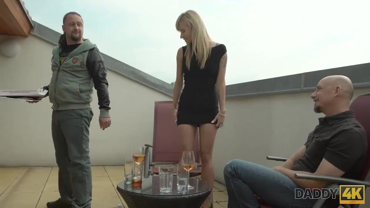 Blonde seduced by mature guy behind boyfriend