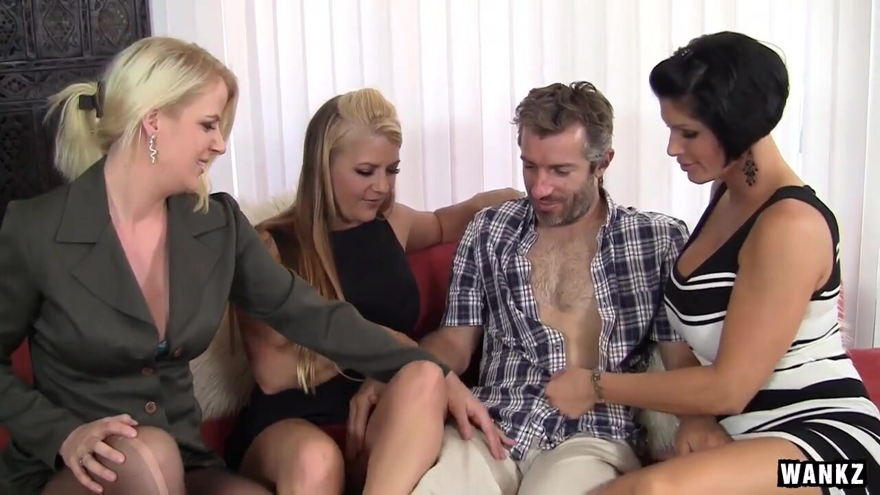 Three busty matures and licky guy in gonzo foursome